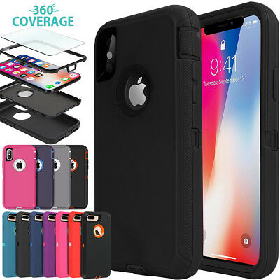iPhone X XS Max XR 7 8 Plus Case Heavy Duty Shockproof Full Body Cover for Apple
