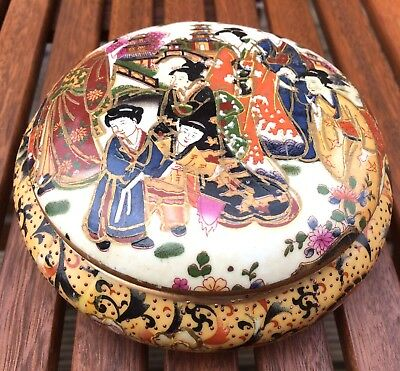 Vintage Traditional Chinese Hand Painted Lidded Trinket Pot Gilt Kimono Pagoda