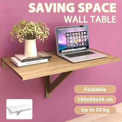 vidaXL Folding Wall Mount Table Computer Laptop Desk Kitchen Oak/White 100x60cm