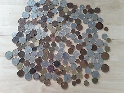 Job lot of old Foreign And British Coins and Canadian Dollar