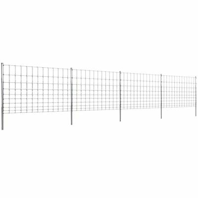 vidaXL Step-In Fence 50m with Post Galvanized Wire Fences 120/10/30 Mesh Panel