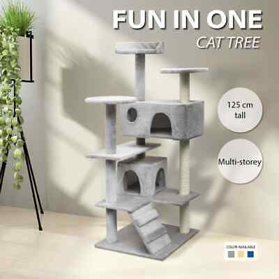 vidaXL Cat Tree with Sisal Scratching Post Kitty Tower 125/150cm Multi Colours