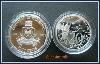 "2001 Centenary of Federation ""South Australia"" Proof 50c+ 20c Student design"