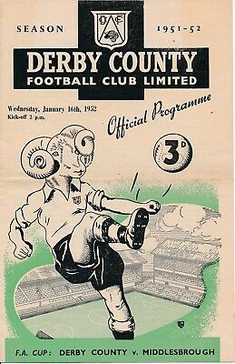 Derby County v Middlesbrough (FA Cup) 1951/2 - Football Programme
