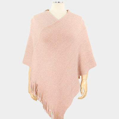 Poncho Shawl Sweater Solid Color Soft Knit VNeck Tassel Wrap Fall Winter PINK