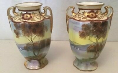 Pair of Noritake Vase's Hand Painted Trees Gold Trim Antique Japan 1920