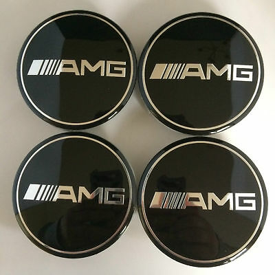 (Next Day Delivery) 4 X BLACK AMG MERCEDES ALLOY WHEEL CENTRE HUB CAPS 75MM