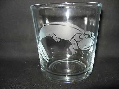 New Etched Mud Puppy Salamander Old-Fashioned Rocks Glass Tumbler