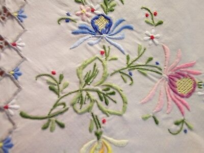 Vintage Beige Hand Embroidered Madeira Work Tablecloth