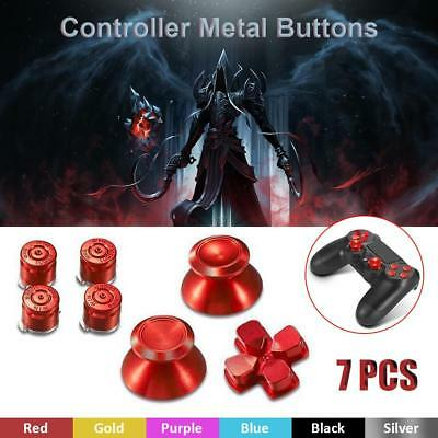 Alloy Metal Bullet Buttons ABXY+Thumbsticks+D-Pad Mod Set Kit For PS4 Controller
