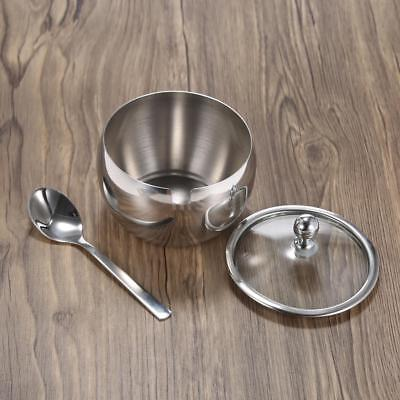 Durable Stainless Steel Sugar Bowl with Lid & Sugar Spoon Seasoning Contain R9Z6