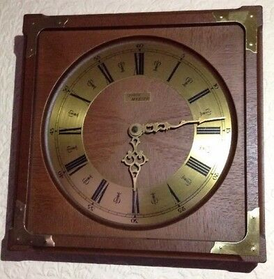 Vintage Quartz Master Battery Operated ? Wood Wall Clock Roman Numeral Display