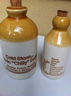 bendigo pottery Oil And Vinegar Bottles With Cork Seal.