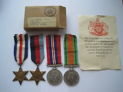 Ww2 Raf Medal Group Of 4,original Medal Box,jarvis From Rochford Essex