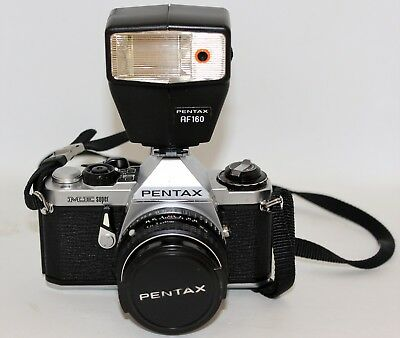Pentax ME Super 35mm SLR Film Camera with 50mm lens Kit and Flash