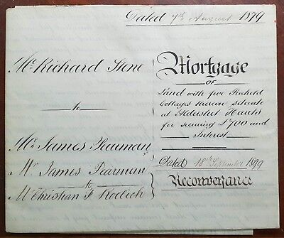 1879 Large Vellum Indenture Stone to Pearman for Land in Elms Road, Aldershot