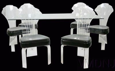 Modern Lucite & Glass Dining Table Six Chairs