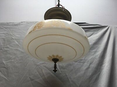 Antique Brass Victorian Pendant Light Old Stenciled Milk Glass Globe Vtg 488-18E