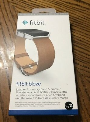 Genuine Fitbit Blaze Leather Accessory Band & Frame - Large - Camel Brown