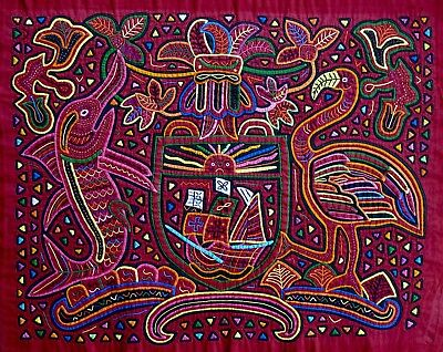 Large Reverse Appliqué Hand-Stitched Mola from the San Blas Islands, Panama