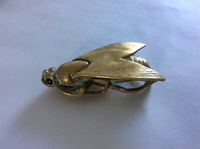 Unusual Antique Vintage Solid Brass Novelty Fly Ashtray. Glass Eyes
