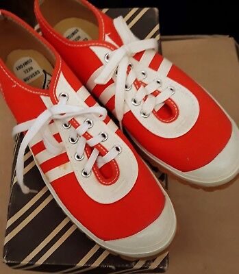 NOS ORANGE Vtg RARE 60s Shoes Sneakers Trainers LaCross boys 5 MIB