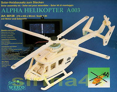 "3D - Puzzle Holzbausatz ""Helikopter"" m. Solarmotor v. WEICO 27x25,5x9 cm ab 8 J."