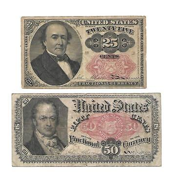 Set of  2  U.S. Fractional notes  25 Cents + 50 Cents  1867s  aVF