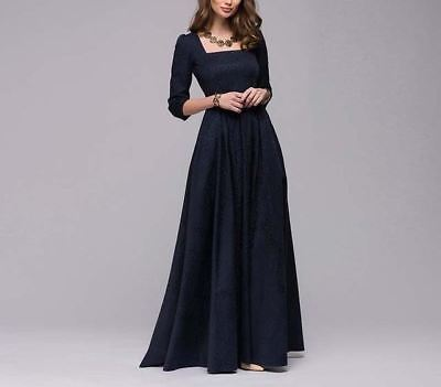 Women Square Collar Solid Pattern 3/4 Sleeve Autumn Wear Ankle-length Dress