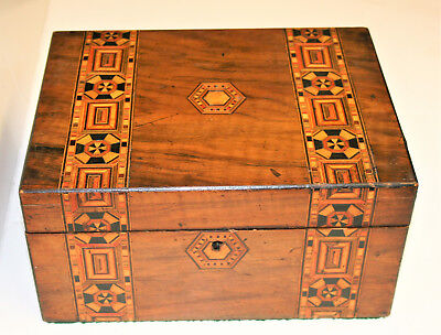Antique Victorian Tunbridge Ware Writing Slope Walnut Table Top Stationary Box