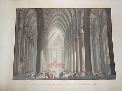 1820 Acquatinta Ladislau Rupp Interno Duomo di Milano colorata a mano