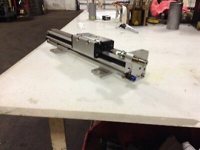Festo Pneumatic Linear Slide, # DGC-18-200-KF-YSR-A, 200mm Travel, Used