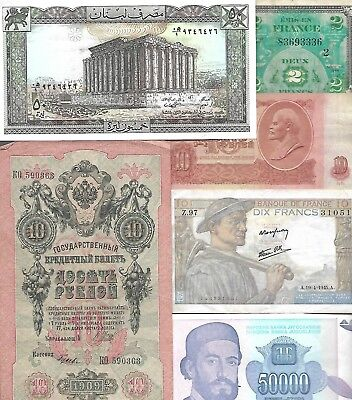 Lot of 74 World Banknotes  Circ/UNC 1793 - 2000  Look!
