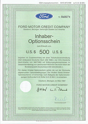 Ford Motor Credit Company Dearborn, Michigan USA 1987 Optionsschein z. Erw, 500$