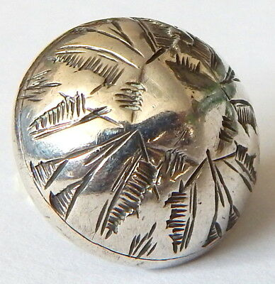 BEAUTIFUL 19th CENTURY HAND TOOLED STERLING SILVER BUTTON by CHARLES BOYTON