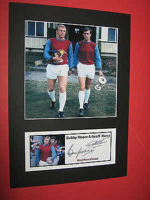 Bobby Moore Geoff Hurst West Ham United A4 Photo Mount Signed Reprint Autographs