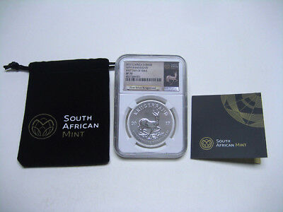 """2017 S Africa NGC SP70 50th Anniversary """"First Day of Issue"""" Silver Krugerrand"""