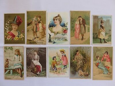 Lot of 10 Vintage Advertising Trade Cards w/Couples, Ladies ~ Colorful & Lovely