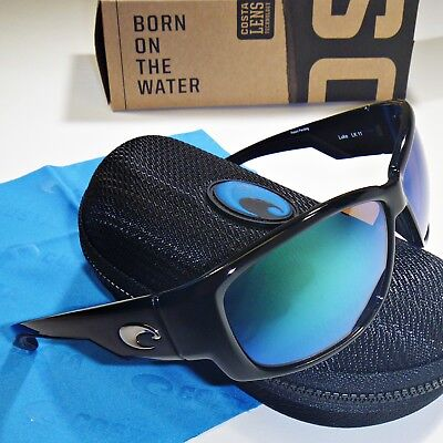 cece6a9edff Costa Del Mar Luke Polarized Sunglasses-Shiny Black Green Mirror Glass 400G  Lens