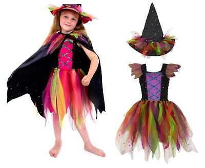 Girls Deluxe Wild Witch Kids Halloween Fancy Dress Costume Inc:Dress, Cape & Hat