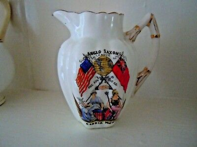 "Wileman  , Shelley crested ware jug "" ANGLO SAXON LEAGUE "" dainty shape  3 1/2 """