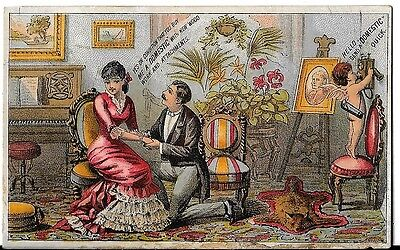 Trade Card Domestic Sewing Machine Cupid Victorian Advertising Telephone