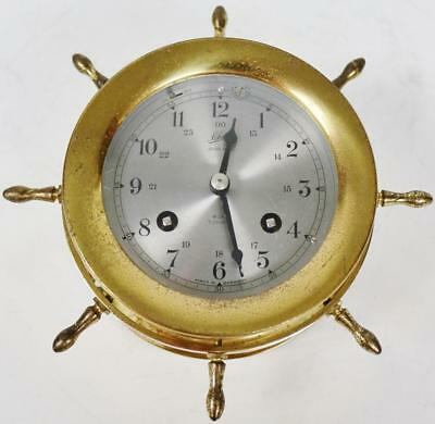 Antique German Schatz 8 Day Ships Bell Striking Ships Wheel Dial Wall Clock