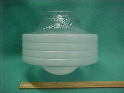 Vintage 30's 40s Art Deco Atomic Frosted Clear Ceiling Light Fixture Shade Globe