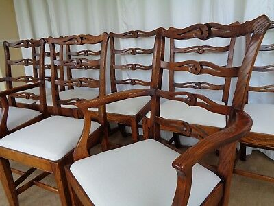 8 Georgian Style Oak Dining Chairs / Antique Farmhouse Ladder Back Style
