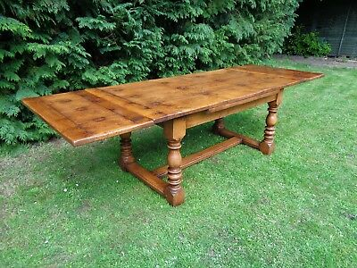 LARGE 9ft EXTENDING SOLID OAK ANTIQUE STYLE FARMHOUSE REFECTORY DINING TABLE