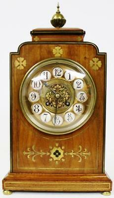 Rare Antique French 8 Day Brass Boulle Inlaid Mahogany Gong Strike Mantel Clock