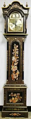 Stunning Vintage Black Chinoiserie 3 train 2 Musical Chime 8 Day Longcase Clock