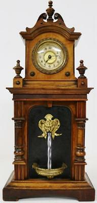 Antique German 8Day Carved Walnut HAC Automaton Water Fall Fountain Mantel Clock