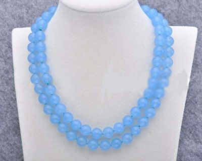 Natural 12mm Blue Chalcedony Gemstone Round Necklace 24 Inch AAA+